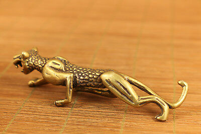 Rare old bronze hand carved fierce leopard statue netsuke collectable pendant