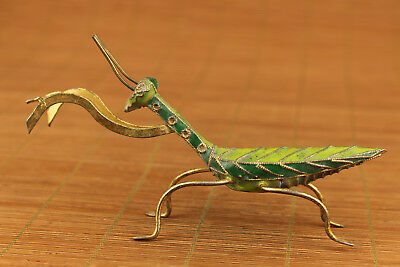 chinese old cloisonne hand carved mantis statue netsuke collectable ornament