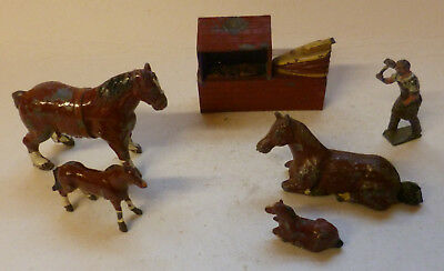 Johillco Vintage Lead Prewar Farm Blacksmith With Forge, Anvil And Horses
