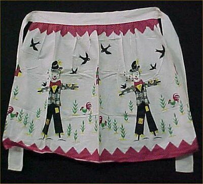 Vintage Antique Skirt Half Apron Cotton Fabric 1940s Era Scarecrow Print