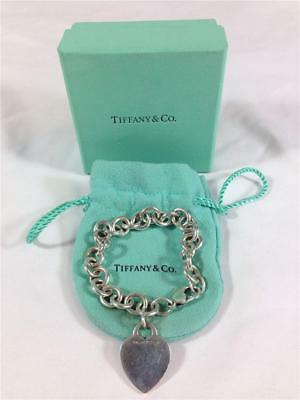 Tiffany & Co. Sterling Silver 925 Chain Link Heart Charm Bracelet