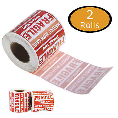 2x3 Fragile Stickers 1000 HANDLE WITH CARE Warning Shipping labels - 2 Rolls