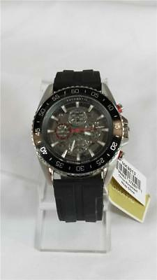 20ca6f4e27ac Mens Michael Kors MK-9013 Jetmaster Stainless Steel Watch Rubber Band Black