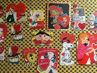 Vintage 1960s Lot of Eighteen (18) Used Valentine's Cards Assortment Two Blank