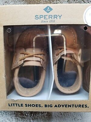 Sperry Top-Sider A/o Crib Jr Sahara Brown Baby Boys Boat Shoes Size 3 M Infant