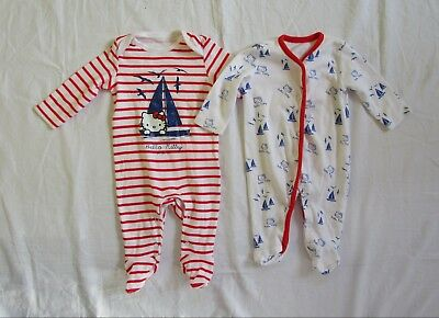 Set of 2 x Baby Girls F&F Hello Kitty Sleepsuits Bodysuits Age 3 months