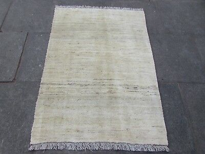 Old Traditional Hand Made Persian Rugs Oriental Cream Wool Gabbeh Rug 146x106cm