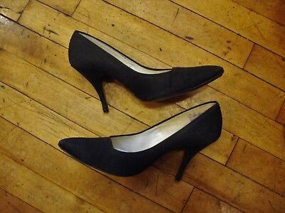 VINTAGE 1950'S 1960'S Black Pin Up High Heel Shoes * Size 8