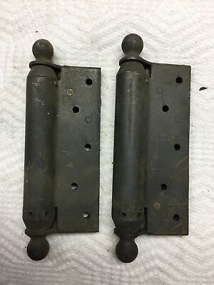 Pair Heavy Antique Cast Iron Sping Door Hinges, Cannon Ball Style, Bombers 1905
