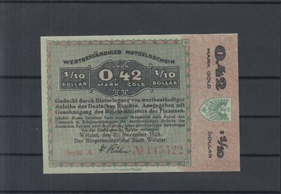 Germany Banknote Local Issue Wetzlar 1/10 Dollar 0,42 Mark Gold 1923 uncirculate