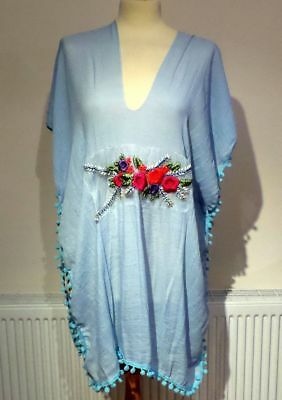 Bn New Beach Cover Up Kaftan Dress Embroidered Tasselled One Size Poolside