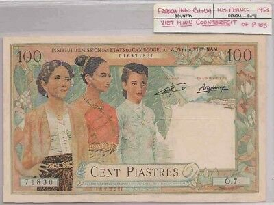 Vietminh fake for Indochina notes =100 piastres -Laos series