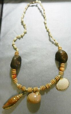Mother of pearl chip necklace w/ tagua nuts and shell beads, new old stock, V681