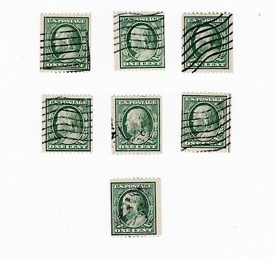 Scott 348 Franklin Perforated 12 Horizontal coils DLWM lot of 7 used NH