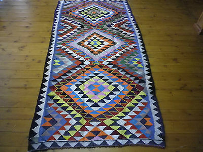 Old Traditoinal Hand Made Persian Oriental Blue Wool Cotton Kilim 285x145cm