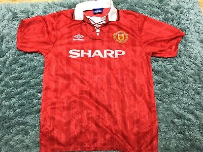 Mens Large Manchester United 1992-94 Shirt Jersey Top Kit Sharp Umbro Home Mufc
