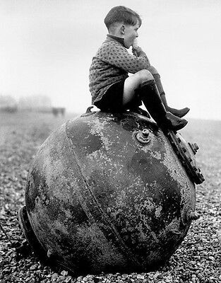 WWII Photo British Boy Eating Ice Cream Naval Mine WW2 B&W World War Two / 8005