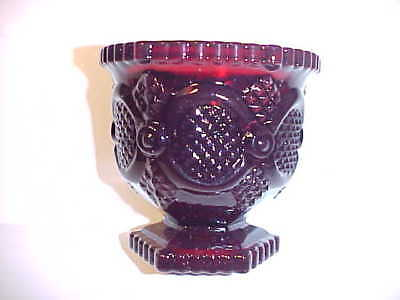 """1982 Nos Avon 1876 Cape Cod Ruby Red 3 3/8""""  Footed Open Sugar Dish"""
