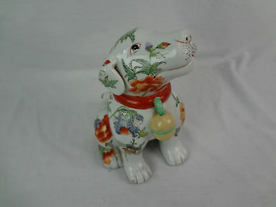"""Vintage Chinese Porcelain Hand Painted 9"""" Tall Dog (670)"""