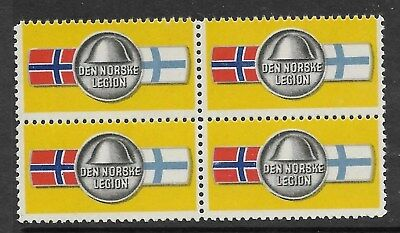 Norway - DEN NORSKE LEGION label block of 4 MNH   (see desc)