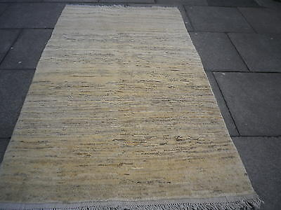 Old Traditional Hand Made Persian Oriental Cream Wool Gabbeh Rug 205x120cm