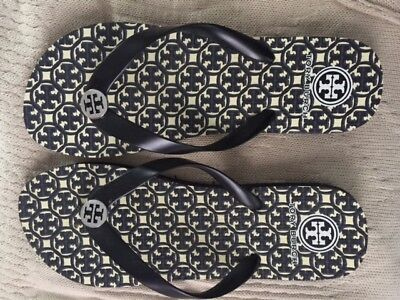 72317016d991 TORY BURCH THIN Flip Flop Thong Sandals Black Logo Print Size 9 ...