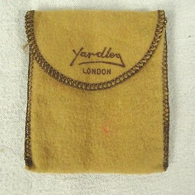 Vintage Yardley London Compact Bag Flannel Tan 3.24 x 2.75 in