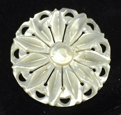 Vintage Brooch Pin MOTHER OF PEARL SHELL MOP Flower Carved Jewelry lot i