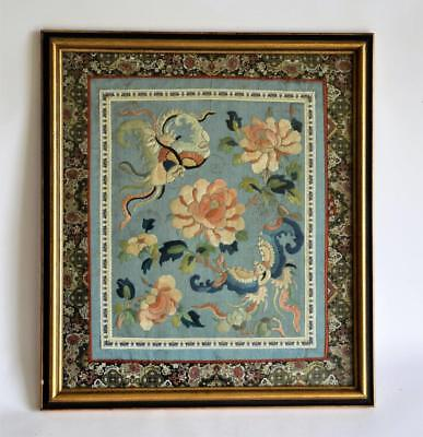 Framed Antique Qing Chinese Silk Kesi Embroidery Textile Tapestry Picture