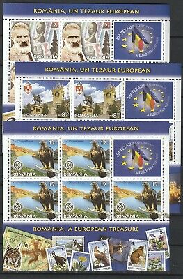 2019 Romania Stamps Europe Treasure Animals Art History Planes Sheets Mnh