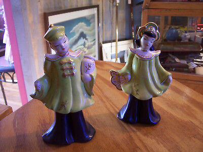 2x vintage 1960s china Asian /Oriental man and woman decorative figurines/statue