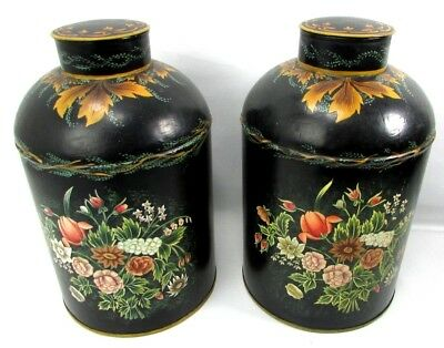 Large Grain Cans PAIR Floral Toleware Tinware HAND PAINTED Floral Canister