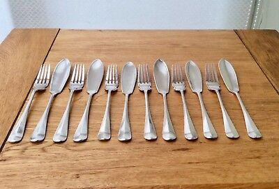 Superb Set Of 12 UNUSED Silver Plated Fish Knives & Forks By COOPER BROTHERS