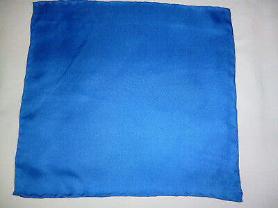 Lightweight mens silk top pocket handkerchief Mid blue Smaller size  NEW