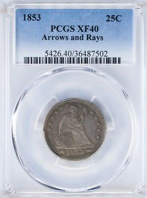 1853 Seated Liberty Quarter PCGS XF40 Arrows and Rays, Conservatively Graded