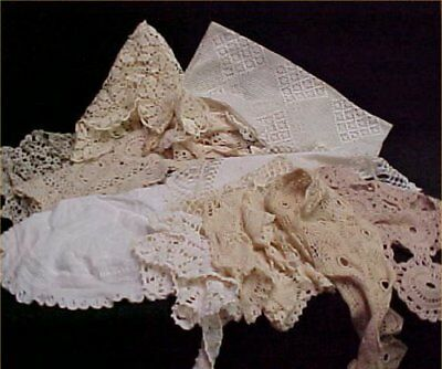 12 Vintage Antique Hand Crocheted Doily Tablecloth White Ecru LOT Wedding Crafts