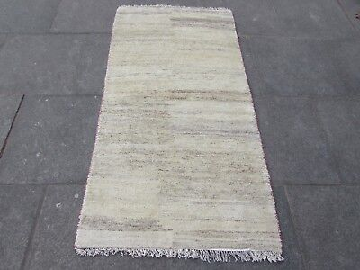 Old Traditional Hand Made Persian Oriental Cream Wool Gabbeh Runner 181x92cm