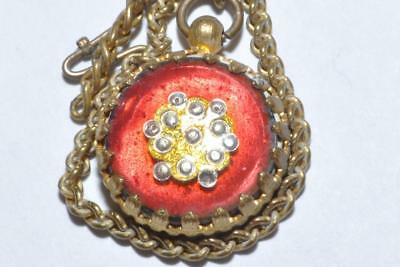 Sweet Vintage Glass Clock Charm In Ornate Frame With Small Hook