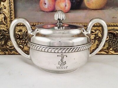 US NAVY Officers Mess International Silver Co Silver Soldered Sugarbowl C1937