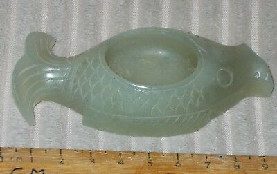 Chinese Celadon  Hardstone Brushwasher In The Shape Of A Fish