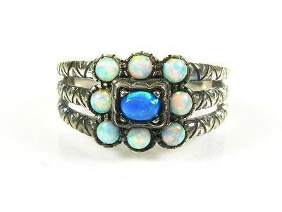 .50ctw Natural Multi Colored Opal Victorian Deco Sterling Filigree Ring s7 107a