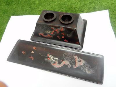 Antique Chinese Foochow Lacquer Double Inkwell w/ Pen Tray Dragons 福州 漆 墨水瓶 笔盘