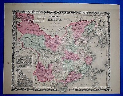 Vintage 1863 CHINA Map ~ Old Antique Original Johnson's Atlas Map