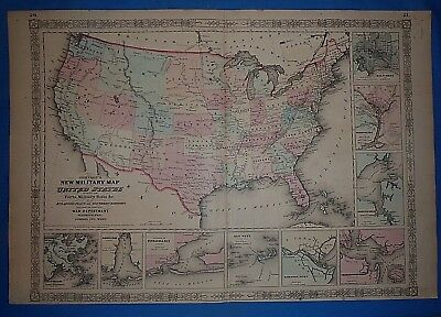 Vintage 1863 UNITED STATES w/ WESTERN TERRITORIES Map Old Antique Original Map