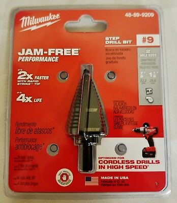 """NEW Milwaukee Electric Tool 48-89-9209 Step Drill Bit #9, 7/8"""" to 1-1/8"""""""