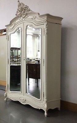 Beautiful Antique Painted French Louis Chic Style Serpentine Armoire Wardrobe