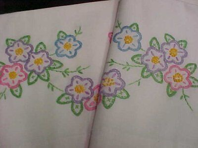 Vintage Antique Pillowcases Hand Crocheted Embroidered 1940s Era Spring Flowers