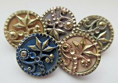 Lot of 5 Matching Antique~ Vtg Tinted Metal BUTTONS All Different Colors (W)