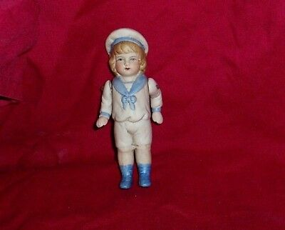 ANTIQUE 1900s GERMAN BISQUE MINIATURE DOLL SAILOR WIRE JOINTED ARMS MOVE FREELY