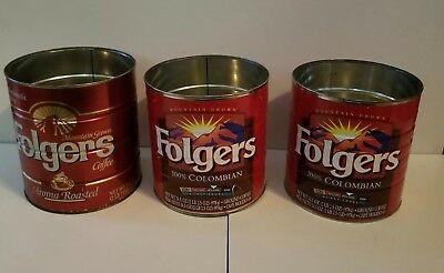 Lot Vintage Folgers Coffee Tin 2 Pound 2.5 Ounces Aroma Roasted 100% Colombian